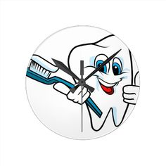 Happy Smiling Tooth Fairy Round Clock