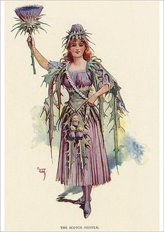 The Scotch Thistle - William John Charles Pitcher Victorian Fancy Dress, Victorian Flowers, Vintage Flowers, Historical Costume, Historical Clothing, Style Vintage, Vintage Art, John Charles, Movie Costumes
