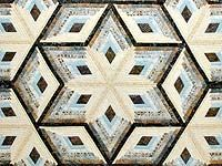 Pastel Blue Brown and Tan Diamond Star Log Cabin Quilt