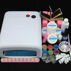 36W UV Lamp Dryer Nail Art UV Builder Top Coat Gel False Tips Glitter Powder Kit #Unbranded