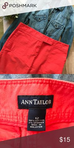Ann Taylor// Coral Skirt This is a classic piece from Ann Taylor! Size 12, beautiful coral color, in great shape! Ann Taylor Skirts