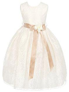136828486c DressForLess Ivory Elegant Lace Flower Girl Dress with Ribbon Sash
