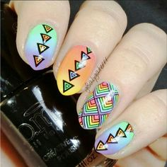 """Bundle Monster designs 2014 Create Your Own (CYO) contest fans plate set nail art design DIY Manicure stamp stamping 2014 """"Create Your Own"""" Collection - Dreamcatcher Nail Plate, Nail Stamping Plates, Hair And Nails, My Nails, Nail Art Designs, Colorful Nail Art, Hipster Chic, Bundle Monster, Geometric Nail"""