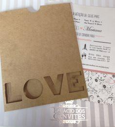 Envelope papel Kraft Natural 180 grs com Love vazado <br> convite papel aspen 250 grs com impress�o colorida <br> <br>( minimo 100 unidades