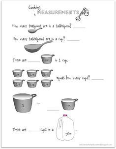 Get out your tablespoons and teaspoons and get kids measuring! This is great fraction practice and a fun way to learn about equivalents! Stop by Relentlessly Fun, Deceptively Educational for a book recommendation and free printable worksheet.