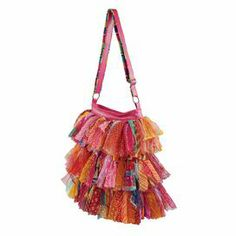 """Add wayfaring appeal to your wardrobe with this eye-catching tote, showcasing tiers of art silk ruffles in in multicolor hues.  Product: ToteConstruction Material: Art silkColor: MultiFeatures:  HandcraftedConstructed with recycled materialsDimensions: 14.5"""" H x 11"""" W x 3"""" D"""