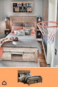 Turn your child's room into the perfect reflection of what they love. We think this room is a slam dunk! Boy Sports Bedroom, Big Boy Bedrooms, Boys Bedroom Decor, Girls Bedroom, Boys Room Sports, Ideas For Boys Bedrooms, Boys Room Ideas, Little Boy Bedroom Ideas, Cool Boys Room