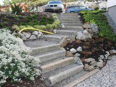 Garden Stairs, Garden Bridge, Sloped Yard, Stair Steps, Outside Living, Maine House, Garden Paths, Garden Inspiration, Curb Appeal