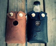 Leather Whiskey Bottle Holster by SanFilippoLeather on Etsy