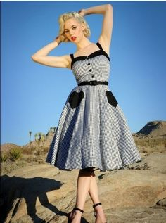 New 50s Vintage Retro Hepburn Style Black and White Chequer Rockabilly Dress with Solid Hearted-Shaped Pocket Alternative Measures