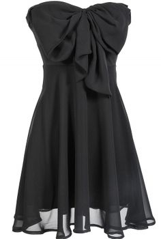 Oversized Bow Chiffon Dress in Black    www.lilyboutique.com