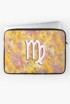 """Zodiac sign : Virgo"" Laptop Sleeve by Savousepate on Redbubble #laptopsleeve #astrology #astrologicalsign #zodiacsign #virgo #yellow #pink #white #watercolorpainting"