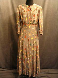 Costumes/20th Century/1930's/Women's Wear/1930's Women's Dresses/09027987 09028086 dress 2 piece womens 1930s grey yellow rust floral rayon C38 W28
