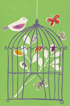 Bird on Cage print by Fiona Howard - WorldGallery.co.uk