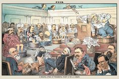 A Dreadful Attack of Presidential Fever in the US Senate - Puck, by F. Opper