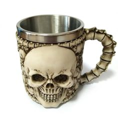 Hot Unique Stainless Steel Liner Creepy 3D Skull Coffee Beer Milk Mug Cup Tankard Novelty for Halloween Decoration Gift