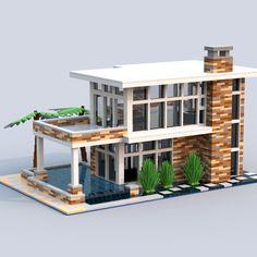 Minecraft Modern City, Lego Mansion, Lego Beach, Casa Lego, Lego Furniture, Dream Beach Houses, Lego Modular, Lego Construction, Lego Room