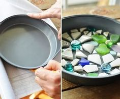 You will love these Cake Pan Garden Stepping Stones and they are so easy to make. Check out all the cute ideas and watch the video tutorial too. Concrete Stepping Stones, Garden Stepping Stones, Painting Concrete, Concrete Art, Mosaic Wall, Mosaic Tiles, Papercrete, Concrete Crafts, Concrete Projects