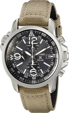 Seiko Prospex Smoke Dial SS Tan Textile Chronograph Quartz Men's Watch SSC293 - mens watches sale online, mens watches under 100, mens designer watches online
