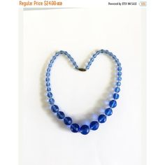 ON SALE Vintage Blue Glass Bead Necklace, Faceted Beads, Graduated,... ($20) ❤ liked on Polyvore featuring jewelry and necklaces