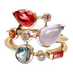 CARTIER Meli Melo Diamond Aquamarine Tourmaline Garnet Chalcedony Platinum Ring