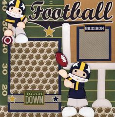 Football Boy 2 Premade Scrapbook Pages 4 Album Paper Piecing Layout by Cherry   eBay