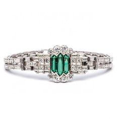 Art Deco Russian Emerald and Diamond Bracelet