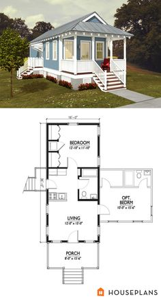cute idea for a apartment in backyard 500sft Katrina Cottage floor Plan with optional bedroom houseplans #514-6