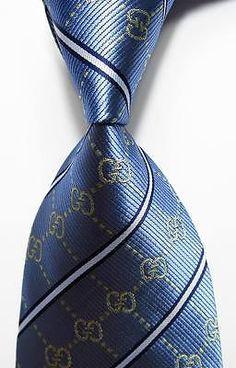 New Classic Striped Blue Gold White Jacquard Woven 100 Silk Men's Tie Necktie   eBay