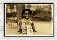 Lewis Hine Roland newsboy Newark New Jersey 1924 by OldCityPrints, $24.00