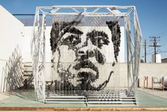 Portrait of Muhammad Ali made by 1300 punching bags