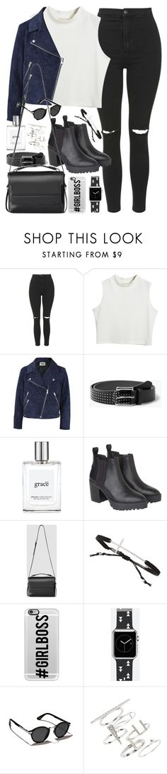"""Outfit with ripped jeans and black boots"" by ferned ❤ liked on Polyvore featuring Topshop, Chicnova Fashion, Acne Studios, MANGO, philosophy, Monki, AllSaints, Tai, Casetify and Abercrombie & Fitch"
