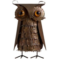 A Small Metal Owl Table Sculpture 1970s