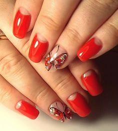 Who said that only dark or pastel manicure can be decorated diamonds? Bright red nails with rhinestones is the design for the queen! See the best ideas about rhinestones on red nails. Pale Pink Nails, Bright Red Nails, Black Nails, Matte Nails, Stiletto Nails, Rose Gold Makeup, Wedding Nails Design, Super Nails, Rhinestone Nails