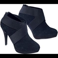 Black booties (7.5) Adorable booties! Brand new never worn. Zipper in the back. Shoes Ankle Boots & Booties