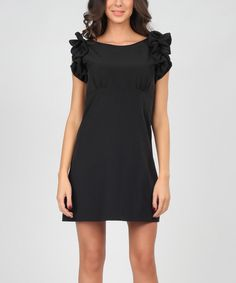 Look at this Black Ruffle-Sleeve Dress on #zulily today!