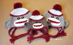 Sock Monkey Hat, free patterns for sizes newborn to adult  #crochet