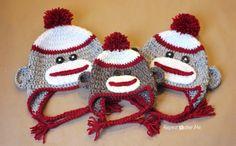 Sock Monkey Hat, free patterns for sizes newborn to adult  #crochet