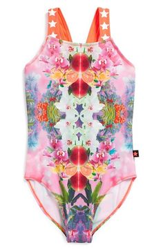 Molo Graphic One-Piece Swimsuit pink and multi colors - tween fashion