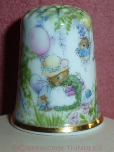 Mouse Family Thimble Raesuevic Ceramics Fine Bone China on Etsy, $5.11