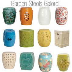 Ceramic Garden Stools by insideavenue on Polyvore featuring interior, interiors, interior design, home, home decor, interior decorating, Emissary, Safavieh and Legend of Asia