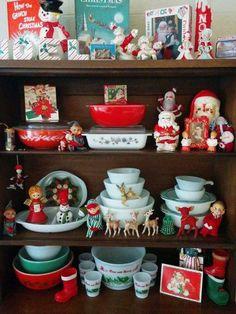 Beautiful Christmas display with Pyrex
