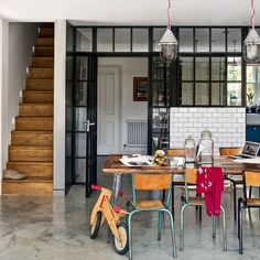 love the industrial vintage feel of this kitchen. Lights are great too!