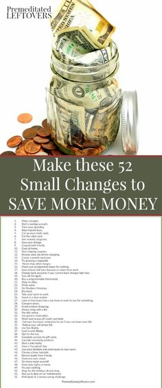 Make these 52 small changes to your spending habits to save more money in the New Year. Simple tips that can add up to big savings. Personal finance tips to get yourself on a workable budget.