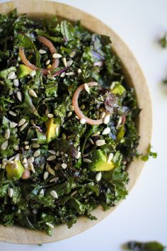 Massaged Kale Salad with Avocado and Pickled Red Onions   theroastedroot.net #vegetarian #recipe #letthemeatkale