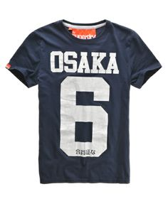 Superdry men's Osaka t-shirt. The iconic Osaka t-shirt, with a distressed Osaka 6 print design and a Superdry sleeve logo tab.