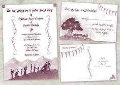 Lord of the Rings Wedding Invitations by AwkwardAffections on Etsy, $40.00