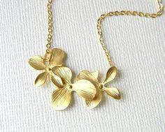 Gold Triple Orchid Flower Necklace  Wedding Jewelry  by DanaCastle, $22.00