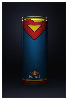 """Voici """"REDBULL SUPERHEROS"""", une magnifique série de canettes à l'effigie des membres de la Justice League, projet d'union entre Red Bull et DC Comics et c'est réalisé par Diego Fonseca, look..."""