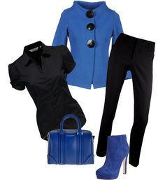"""""""black and blue outfit"""" by vanesa-klopic ❤ liked on Polyvore"""